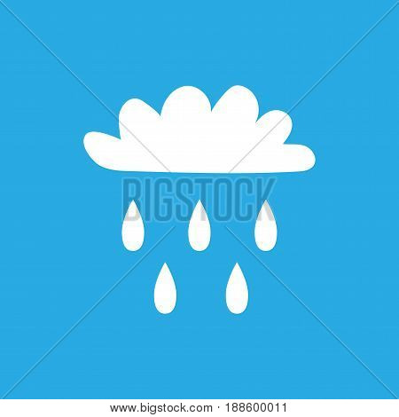 Cloud with rain sign. White plane icon isolated on blue background. Color weather logo. Raininess symbol. Rainy flat silhouette. Weather mark. Stock vector illustration