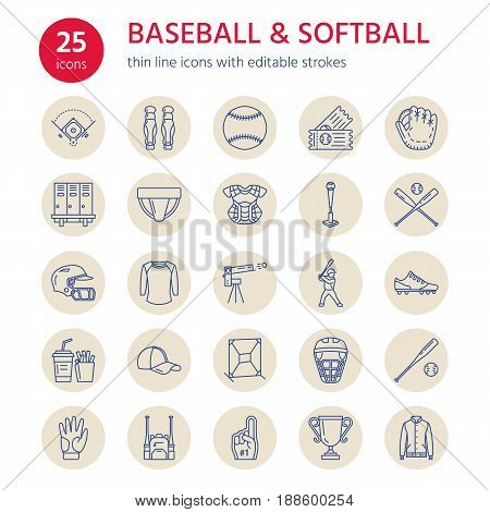 Baseball, softball sport game vector line icons. Ball, bat, field, helmet, pitching machine, catcher mask. Linear signs set, championship pictograms with editable stroke for event, equipment store.