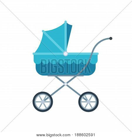 Blue pram for kid. Baby carriage icon. Vector illustration in flat style isolated on white background