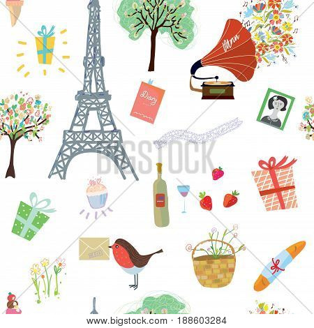Happy Paris seamless pattern illustration - vector graphic