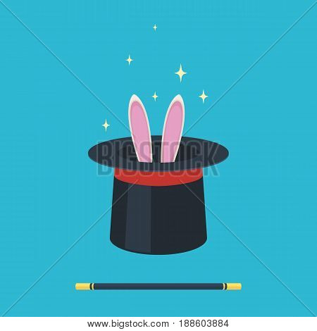 Magic hat with rabbit ears and a wand. Vector illustration in flat style