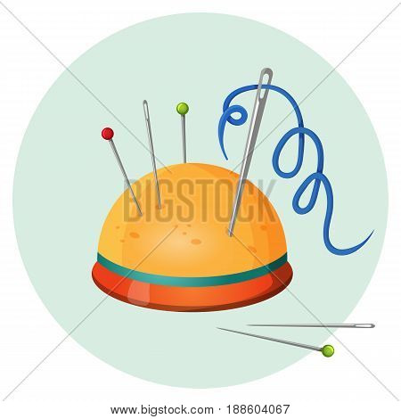Pincushion with needles and pins or thimbles vector illustration isolated on white. Sewing equipment on round button. Handmade, craft symbol