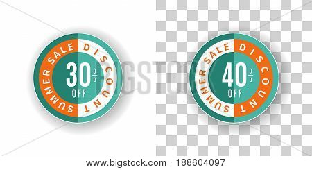 Template Summer Sale Sticker 30 and 40 percent discount in turquoise and orange color.  Round label summer sale with percent discount on white and transparent background with shadow