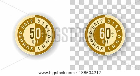Template Summer Sale Sticker 50 and 60 percent discount in golden color.  Round label summer sale with percent discount on white and transparent background with shadow