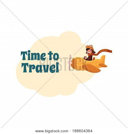 Time to Travel postcard, banner, poster design with little boy pilot in airplane, cartoon vector illustration. Little boy flying in airplane, plane, aircraft, travel, tourism banner, poster template