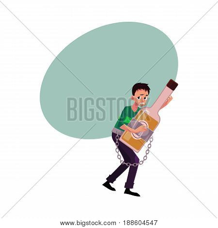Unshaven man holding bottle of liquor, chained to it, alcohol dependence, abuse, disorder, cartoon vector illustration with space for text. Man chained to alcohol bottle he holds in hands