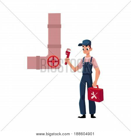 Plumbing specialist holding wrench and toolbox, ready to repair a sewer pipe, cartoon vector illustration isolated on white background. Plumber, plumbing specialist, repairman with wrench a toolbox