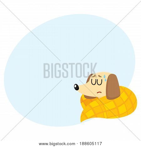 Sick baby badger dog having flu, fever, sleeping under blanket, cartoon vector illustration with space for text. Sick little dog having flue, cold, fever, lying under blanket with closed eyes
