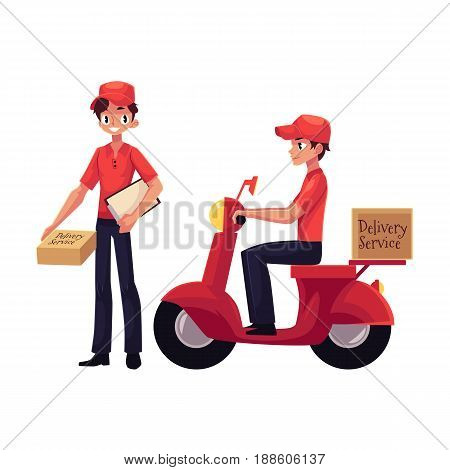 Courier, delivery service worker riding scooter, standing with clipboard and parcel box, hand cart with boxes, cartoon vector illustration isolated on white background.