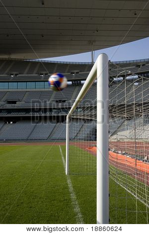 Ball Heading The Goal In An Empty Stadium