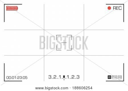 Digital video camera focusing screen.  Viewfinder grid with many shooting settings. Vector illustration isolated on white background