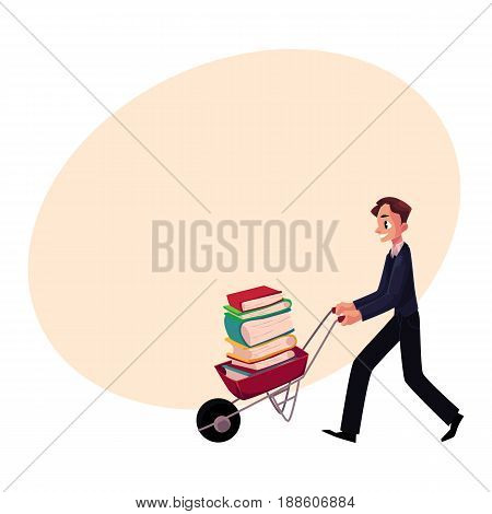 Young man, businessman, student, librarian pushing wheelbarrow with book pile, cartoon vector illustration with space for text. Man pushing wheelbarrow full of books, study, workload concept