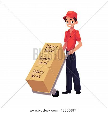 Courier, delivery service worker with hand cart, dolly loaded with boxes, cartoon vector illustration isolated on white background. Full length portrait of delivery service man with hand cart, dolly