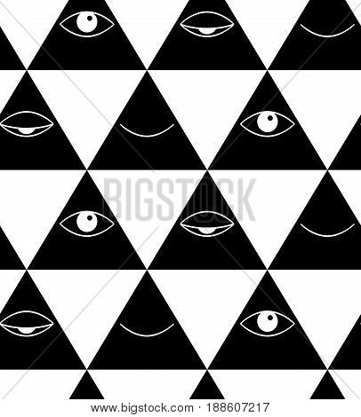 Pattern with eyes and lips. Open and closed eyes in triangle. Open and closeds lips. Vector pattern.