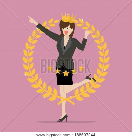 Business woman with golden wreath. Symbol of victory and achievement