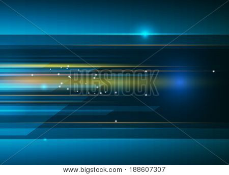 Vector Abstract science, futuristic, energy technology concept. Digital image of light rays, stripes lines, with blue light, speed and motion blur over dark blue background