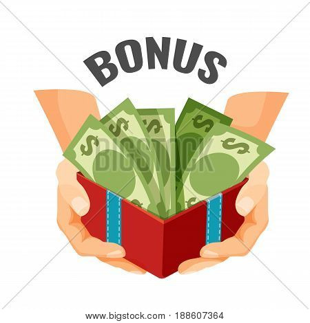 Giving money in open present box with dollar banknotes, bonus text vector illustration. Financial reward in business, present or discount during shopping logo