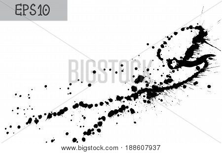 Black splatter on white background vector illustration. Splatter ink texture. Grunge background.