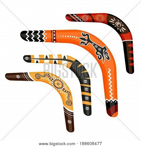 Set of painted traditional australian boomerang tools vector illustration isolated on white background. Collection of ornamental aboriginal weapons