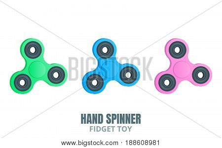 Fidget spinner. Hand spinner in trendy flat style. Stress relieving spinners toy