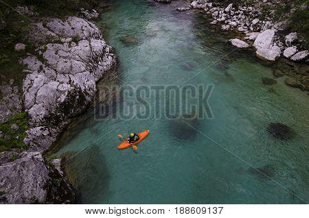 Athlete having a break on the soča river near Kobarid