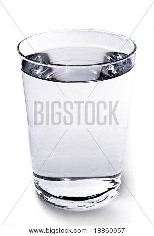 A glass of water on white background