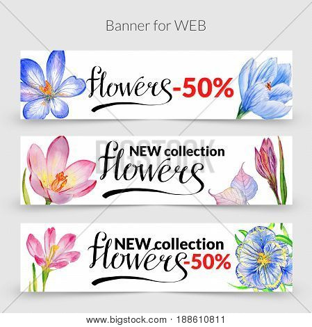 Wildflower crocuses promo sale web banner template in a watercolor style isolated. Aquarelle wildflower dogwood promo banner template for background, texture, wrapper pattern, frame or border.
