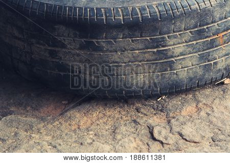 Selective focus Old tire dirty used tire