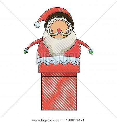 christmas santa claus character in chimney image vector illustration