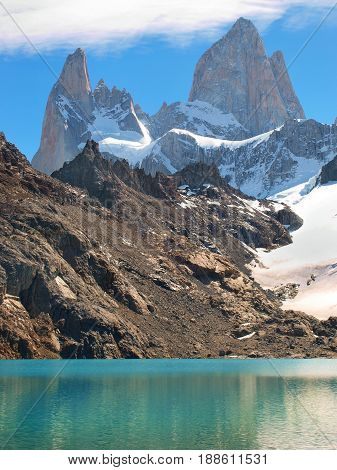 Mountain landscape with Mt Fitz Roy and Laguna de Los Tres in Los Glaciares National Park Patagonia Argentina South America