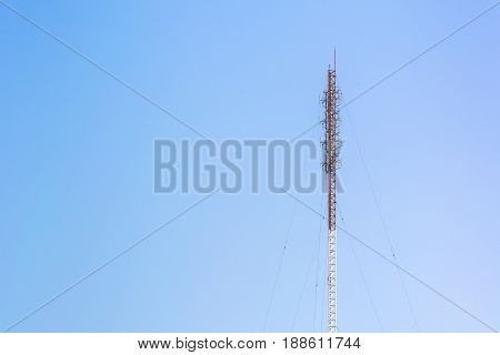 Telecommunication antenna tower Radio antenna tower Cellular antenna tower in blue sky background