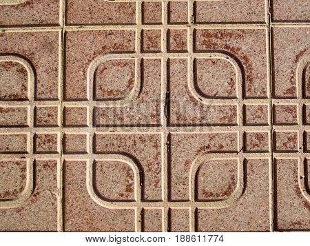 Patterned floor tile used as street pavement