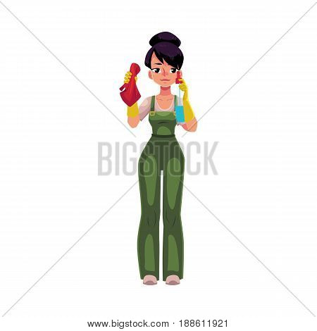 Cleaning service girl, charwoman in overalls washing windows, cartoon vector illustration isolated on white background. Cleaning service girl holding duster and window cleaner, wearing uniform