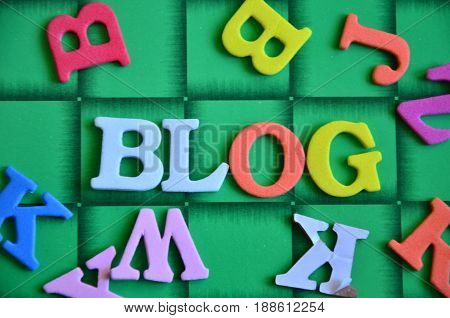word blog on a  abstract green background
