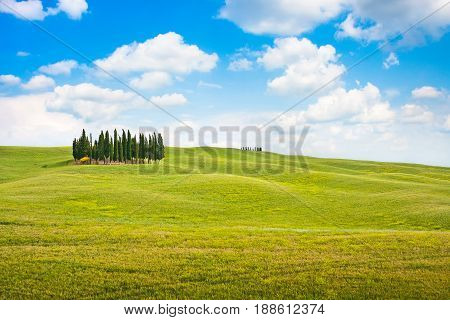 Scenic Tuscany landscape in Val d'Orcia Italy