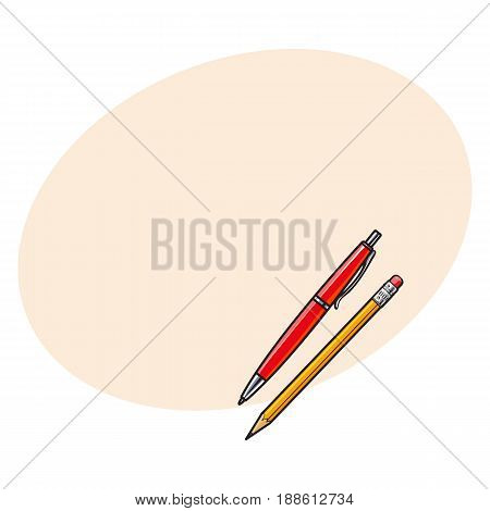 Simple hand drawn ball point pen and pencil, office supplies, sketch style vector illustration with space for text. Realistic hand drawing of red school pen and yellow graphite pencil