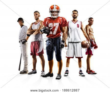Multi sport collage professional boxing baseball american football volleyball bascketball players isolated on white