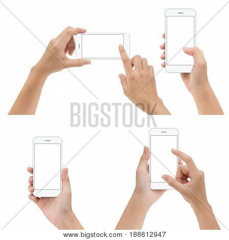 hand gesture hold and using white phone isolated on white background
