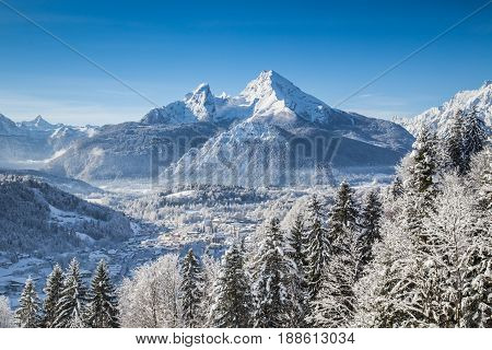 Beautiful mountain landscape in the Bavarian Alps with village of Berchtesgaden and Watzmann massif in the background at sunrise Nationalpark Berchtesgadener Land Bavaria Germany