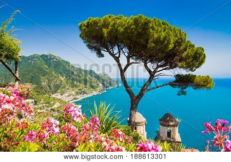 Scenic picture-postcard view of famous Amalfi Coast with Gulf of Salerno from Villa Rufolo gardens in Ravello Campania Italy