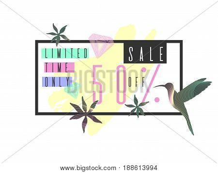 Tropical exotic plants. Stylish sale poster, trendy graphics. Vector illustration.