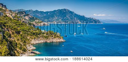 Panoramic view of famous Amalfi Coast with beautiful Gulf of Salerno Campania Italy