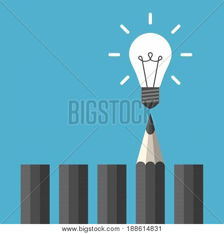 Bright glowing white light bulb above black graphite pencil on blue background. Idea creativity study and moment of insight concept. Flat design. Vector illustration. EPS 8 no transparency