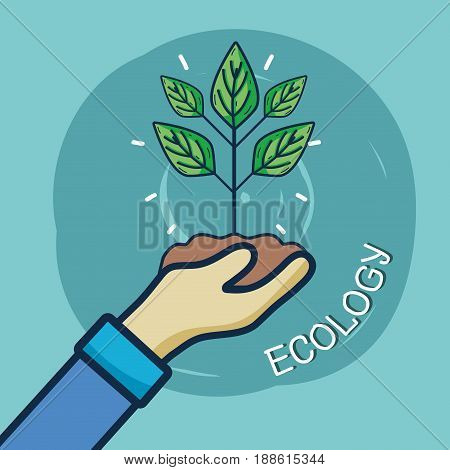 nice plant with eart in the hand, vector illustration