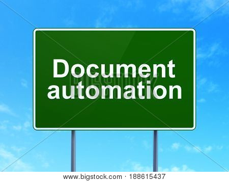 Business concept: Document Automation on green road highway sign, clear blue sky background, 3D rendering
