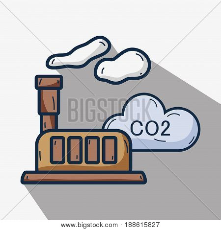 factory with co2 pollution and contaminating of planet, vector illustration