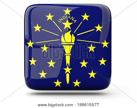 Flag Of Indiana, Us State Square Icon