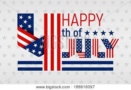 Happy 4th of July greeting card for US Independence Day. Text made of interlaced ribbons with USA flag's stars and stripes. Vector illustration.
