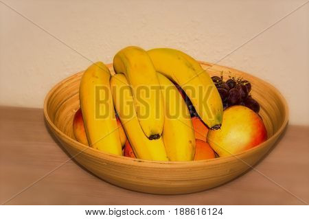 Fruit basket on a table - beige background focus on the center