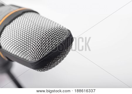 Microphone Closeup On White Background.